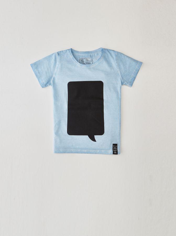 Krijtbord t-shirt IJsblauw (Maat 104)
