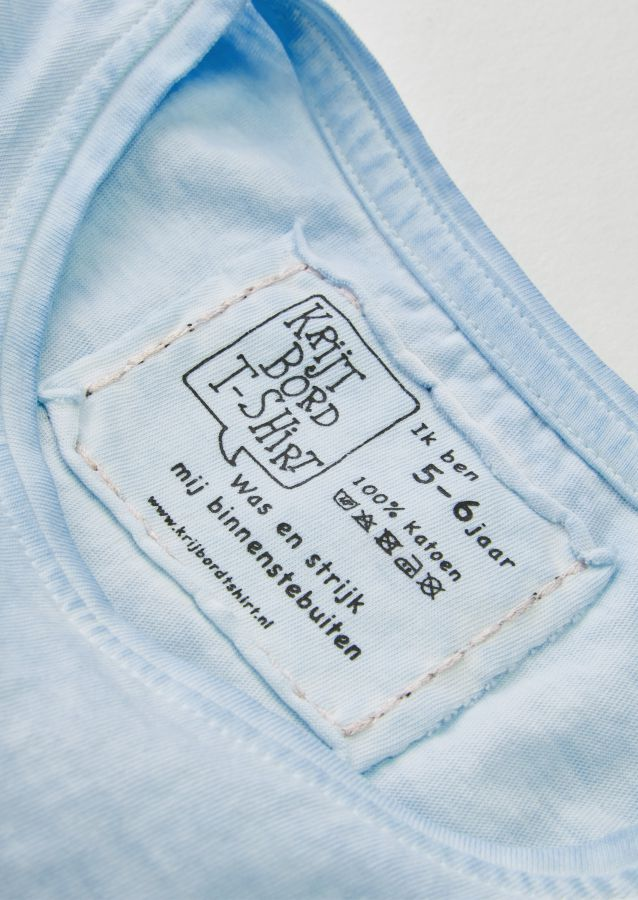 krijtbord tshirt ijsblauw maat 98