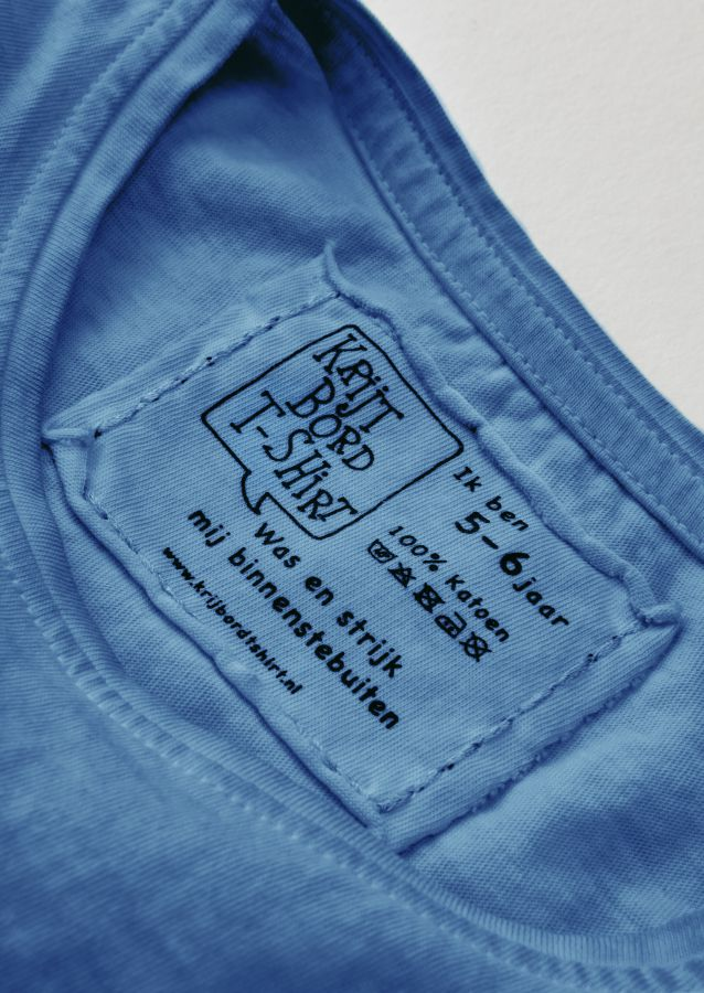 krijtbord tshirt indigo blauw maat 134