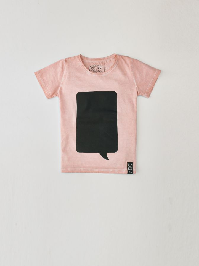 krijtbord tshirt oud roze maat 104