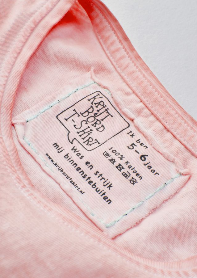 krijtbord tshirt oud roze maat 98