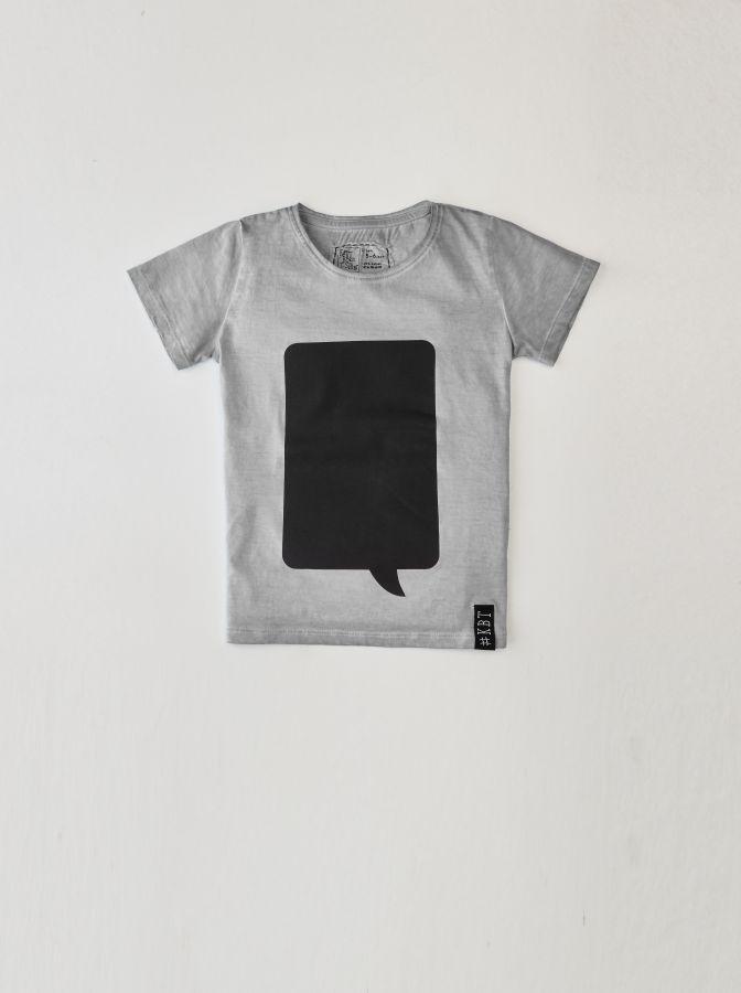 Krijtbord t-shirt Steengrijs (Maat 116)