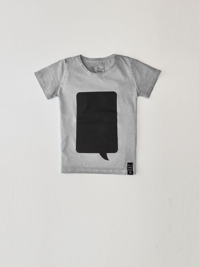 Krijtbord t-shirt Steengrijs (Maat 128)