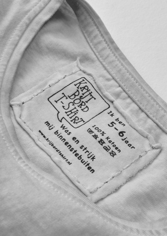 krijtbord tshirt steengrijs maat 128