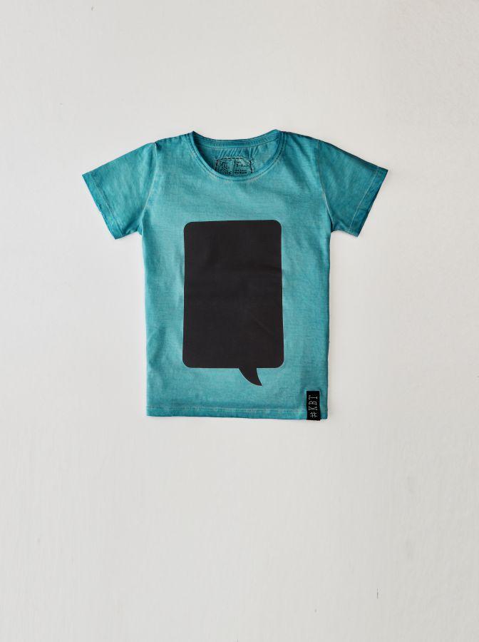 Krijtbord t-shirt Zeegroen (Maat 98)